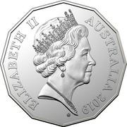 Australia 50 Cents Coat of Arms (5th portrait) 2019 UNC ELIZABETH II AUSTRALIA 2019 VG coin obverse