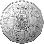 Australia 50 Cents Coat of Arms (5th portrait) 2019 UNC 50 SD coin reverse