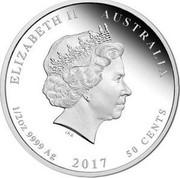 Australia 50 Cents Congratulations On Your Baby 2017 Proof ELIZABETH AUSTRALIA 1/2OZ 9999 AG 50 CENTS coin obverse