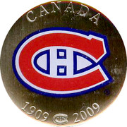 Canada 50 Cents Montreal Canadiens 2009 KM# 847a CANADA 1909-2009 coin reverse