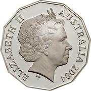Australia 50 Cents Student Design 2004 KM# 694a ELIZABETH II AUSTRALIA 2004 coin obverse