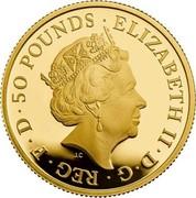 UK 50 Pounds The Britannia 2019 Proof ELIZABETH II•D•G•REG•F•D•50 POUNDS• coin obverse