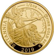 UK 50 Pounds The Britannia 2019 Proof BRITANIA ---½ OZ--- FINE GOLD 999.9 2019 coin reverse