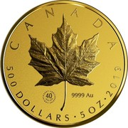Canada 500 Dollars Gold Maple Leaf 40th Anniversary 2019 (40 1979-2019 ANNIVERSARY•ANNIVERSAIRE) CANADA 9999AU 500 DOLLARS • 5 OZ • 2019 coin reverse