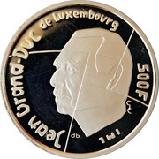 Luxembourg 500 Francs European City of Culture (1995) (qp) (19)95 Proof KM# 71 JEAN GRAND-DUC DE LUXEMBOURG 500 F GC IML QP coin obverse