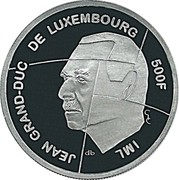 Luxembourg 500 Francs Presidency of the European Community (1997) (qp) KM# 72 JEAN GRAND-DUC DE LUXEMBOURG 500F IML QP G/C coin obverse