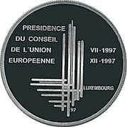 Luxembourg 500 Francs Presidency of the European Community (1997) (qp) KM# 72 PRESIDENCE DU CONSEIL DE L'UNION EUROPEENNE VII ∙ 1997 XII ∙ 1997 LUXEMBOURG 97 coin reverse