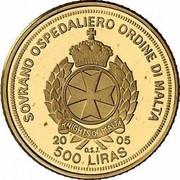 Malta 500 Liras Portrait of Pope 2005 Proof finish X# 315 SOVRANO OSPEDALIERO ORDINE DI MALTA KNIGHTS OF MALTA 2005 500 LIRAS O.S.J. coin obverse