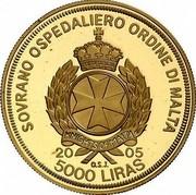 Malta 5000 Liras Pope and Christodoulos 2005 Proof finish X# 318 SOVRANO OSPEDALIERO ORDINE DI MALTA KNIGHTS OF MALTA 2005 5000 LIRAS O.S.J. coin obverse