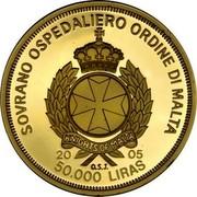 Malta 50000 Liras Inauguration of Pope 2005 Proof finish SOVRANO OSPEDALIERO ORDINE DI MALTA KNIGHTS OF MALTA 2005 50.000 LIRAS O.S.J. coin obverse