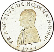 Malta 5•Scvdi (Angelo) X# 44 FR•ANGELVS•DE•MOJANA•M•M•H•H• J. P. 1971 coin obverse