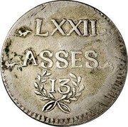 Luxembourg 72 Asses (Sols) Frans II 1795 KM# 20 LXXII ASSES 13 coin reverse