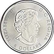 Canada 8 Dollars Bald Eagle 2017  ELIZABETH II D ∙ G ∙ REGINA 8 DOLLARS coin obverse
