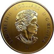 Canada 8 Dollars Pandas - A Golden Gift of Friendship 2019 ELIZABETH II 8 DOLLARS D ∙ G ∙ REGINA coin obverse