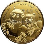Canada 8 Dollars (Pandas: A Golden Gift of Friendship) FRIENDSHIP CANADA 2019 AMITIE coin reverse