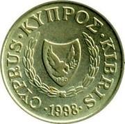 Cyprus Cent Type 2 coat of arms 1998 KM# 53.3 CYPRUS ∙ ΚΥΠΡΟΣ ∙ KIBRIS ∙ 1991 coin obverse