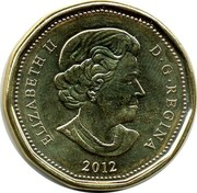 Canada Dollar Lucky Loon 2014 KM# 1587 ELIZABETH II D.G.REGINA 2012 coin obverse