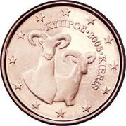 Cyprus Euro Cent Moufflon 2008 KM# 78 ΚΥΠΡΟΣ ∙ 2008 ∙ KIBRIS coin obverse