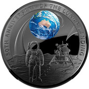 Australia Five Dollars Apollo 11 Moon Landing Domed 2019 Proof 50TH ANNIVERSARY OF THE LUNAR LANDING coin reverse