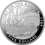 Australia Five Dollars Mutiny on the Bounty 2019 1 OZ .999 AG: MUTINY OF THE BOUNTY - 1789 FIVE DOLLARS coin reverse