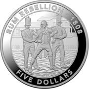 Australia FIVE Dollars Rum Rebellion 2019 1 OZ .999 AG: RUM REBELLION - 1808 FIVE DOLLARS coin reverse