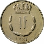 Luxembourg Franc Jean 1981 KM# 55 1 F 1981 coin reverse