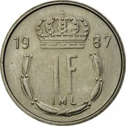 Luxembourg Franc Jean 1987 KM# 59 19 87 1F IML coin reverse