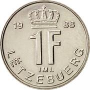Luxembourg Franc Jean 1988 KM# 63 19 88 1F IML LËTZEBUERG coin reverse