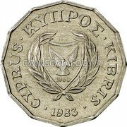 Cyprus Half Cent 1983 KM# 52 Reform Coinage coin obverse