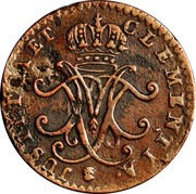 Luxembourg Liard Maria Theresa 1759 (b) KM# 3 JUSTICIA ET CLEMENTIA• coin reverse