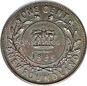 Canada One Cent (Victoria (Pattern)) KM# Pn7 ONE CENT 1864 NEWFOUNDLAND coin reverse