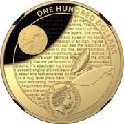 Australia One Hundred Dollars Apollo 11 Moon Landing Domed 2019 Proof ONE HUNDRED DOLLARS ELIZABETH II AUSTRALIA 2019 coin obverse