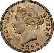 Cyprus Piastre Thick 1 1890 KM# 3.2 VICTORIA QUEEN 1886 coin obverse