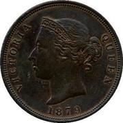 Cyprus Piastre Thin 1 1879 KM# 3.1 VICTORIA QUEEN 1879 coin obverse