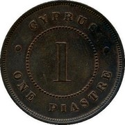 Cyprus Piastre Thin 1 1879 KM# 3.1 CYPRUS • ONE PIASTRE • 1 coin reverse