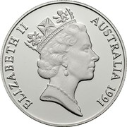 Australia Ten Dollars Jabiru Stork. Piedfort 1991 Proof KM# P3 ELIZABETH II AUSTRALIA 1991 RDM coin obverse