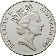 Australia Ten Dollars Kookaburra - Piedfort 1989 Proof; Piedfort KM# 133a ELIZABETH II AUSTRALIA 1989 RDM coin obverse
