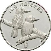Australia Ten Dollars Kookaburra - Piedfort 1989 Proof; Piedfort KM# 133a TEN DOLLARS HH coin reverse