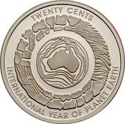 Australia Twenty Cents (International Year of Planet Earth) KM# 1058a TWENTY CENTS G INTERNATIONAL YEAR OF PLANET EARTH coin reverse