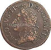 Ireland 1/2 Crown 1690 Proof, May KM# 101b Gun Money Coinage coin obverse