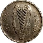 Ireland 1/2 Crown 1939 KM# 16 Republic ÉIRE 1939 coin obverse
