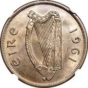 Ireland 1/2 Crown 1961 KM# 17 Republic ÉIRE 1961 coin obverse
