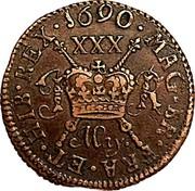 Ireland 1/2 Crown James II Gun Money 1690 May KM# 101 1690 . MAG. BR. FRA. ET . HIB. REX. XXX JR MAY. coin reverse