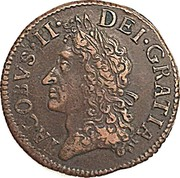 Ireland 1/2 Crown James II Gun Money 1690 Proof, May KM# 101b IACOBVS • II • DEI • GRATIA coin obverse
