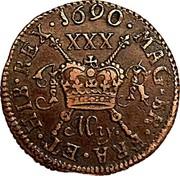 Ireland 1/2 Crown James II Gun Money 1690 Proof, May KM# 101a 1690 . MAG. BR. FRA. ET . HIB. REX. XXX JR MAY. coin reverse