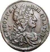 Ireland 1/2 Penny 1681 Proof KM# 91a Standard Coinage CAROLVS II DEI GRATIA coin obverse