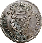 Ireland 1/2 Penny 1681 Proof KM# 91a Standard Coinage 1682 MAG. BR. FRA. ET. HIB. REX coin reverse