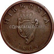 Ireland 1/2 Penny 1805 Restrike. Proof KM# 147.2b Standard Coinage coin reverse
