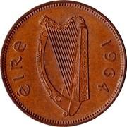 Ireland 1/2 Penny 1964 KM# 10 Republic ÉIRE 1964 coin obverse