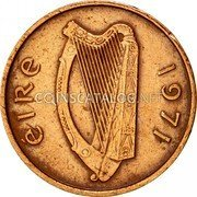 Ireland 1/2 Penny 1971 KM# 19 Decimal Coinage coin obverse